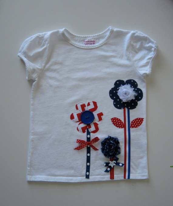 Girls Appliqued TShirt Onesie Red White Blue by TokenBlonde, $22.00