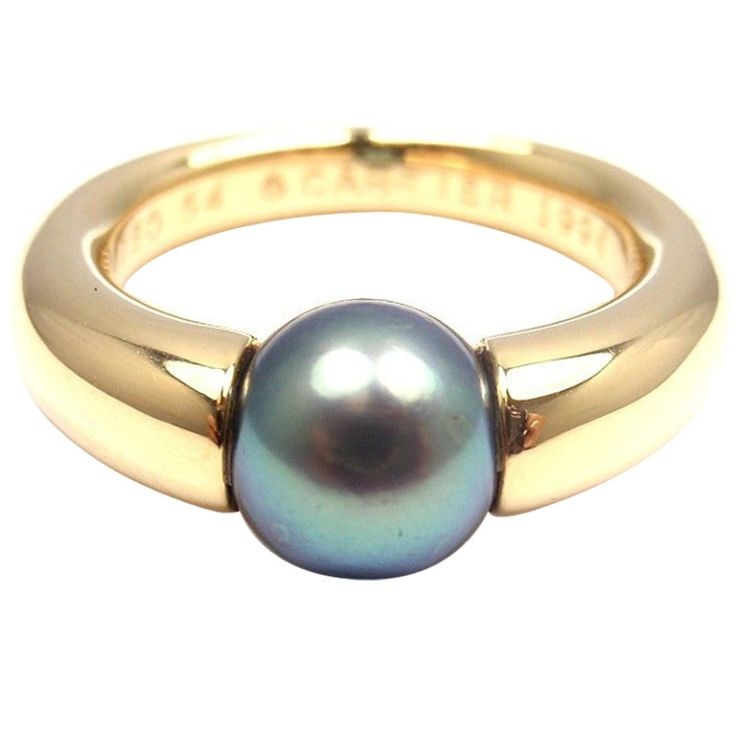 CARTIER Tahitian South Sea Pearl Yellow Gold Ring | From a unique collection of vintage band rings at http://www.1stdibs.com/jewelry/rings/band-rings/