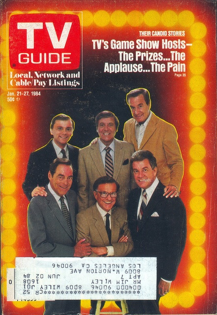 Pat Sajak of Wheel of Fortune; Monty Hall; Bob Barker of The Price Is Right; Jack Barry of The Joker's Wild; Bill Cullen of Hot Potato; and Wink Martindale of Tic Tac Dough (on the cover of TV Guide - January 21, 1984)
