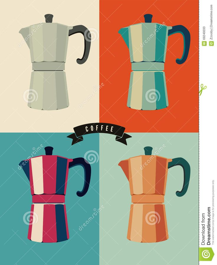 Coffee Vintage Pop-art Style Poster With Classic Moka Pot Coffee Makers. Retro Vector Illustration. - Download From Over 64 Million High Quality Stock Photos, Images, Vectors. Sign up for FREE today. Image: 69240033