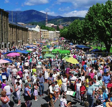 Salamanca Markets, Hobart Australia - with Mt Wellington in the distance. Superb!
