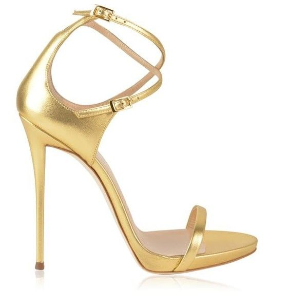Giuseppe Zanotti Coline Heeled Sandals ($645) ❤ liked on Polyvore featuring shoes, sandals, metal, metallic heeled sandals, high heel sandals, leather strap sandals, strappy heeled sandals and two strap buckle sandals