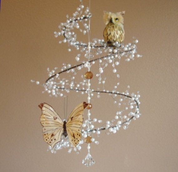 Pearl and Crystal Mobile Chandelier with Perched Owl and Butterfly