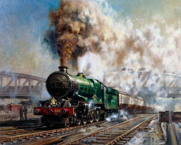 Express Departing from Paddington Station Hauled by King Class 4–6–0 Locomotive No.6000 'King George V'  Alan Fearnley (b.1942)  National Railway Museum,17