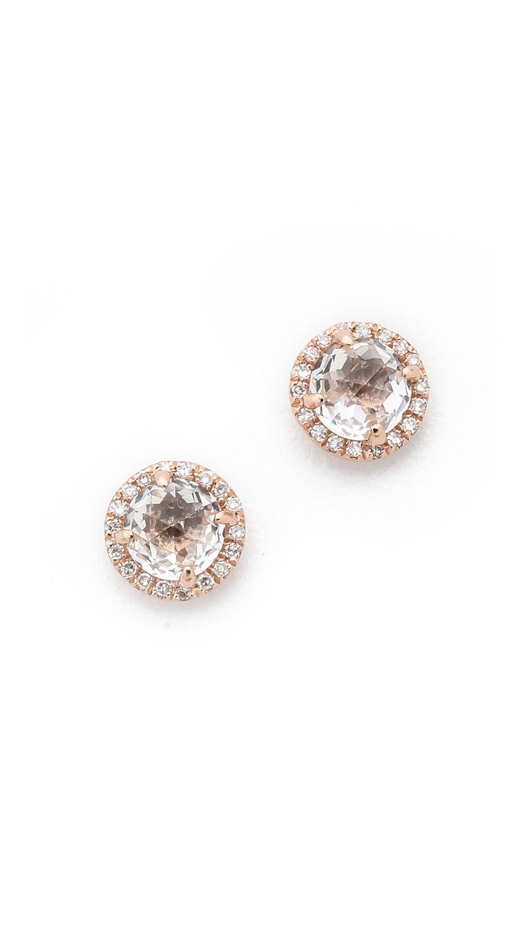 l gold solid rose topaz stud genuine earrings white sapphire