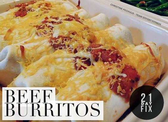 21 Day Fix Healthy Beef Burrito recipe.  Cinco de Mayo!  Family-tested and…