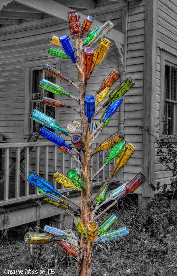 Bottle Tree Selective Color, Southern Folklore   Catches The Evil Spirits  Before They Enter Your Home. You See A Lot Of Bottle Trees In The Sout.  Love Them!