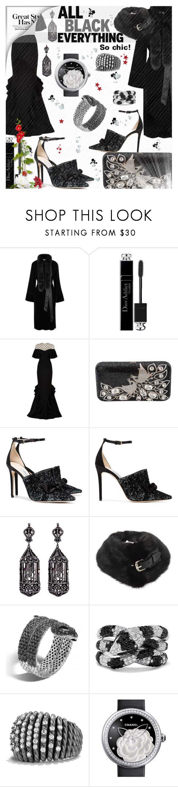 """Mission Monochrome: All-Black Outfit n°2"" by tempestaartica ❤ liked on Polyvore featuring Elizabeth and James, Christian Dior, Rachel Gilbert, Judith Leiber, Jimmy Choo, Amrapali, Louis Vuitton, John Hardy, Effy Jewelry and David Yurman"