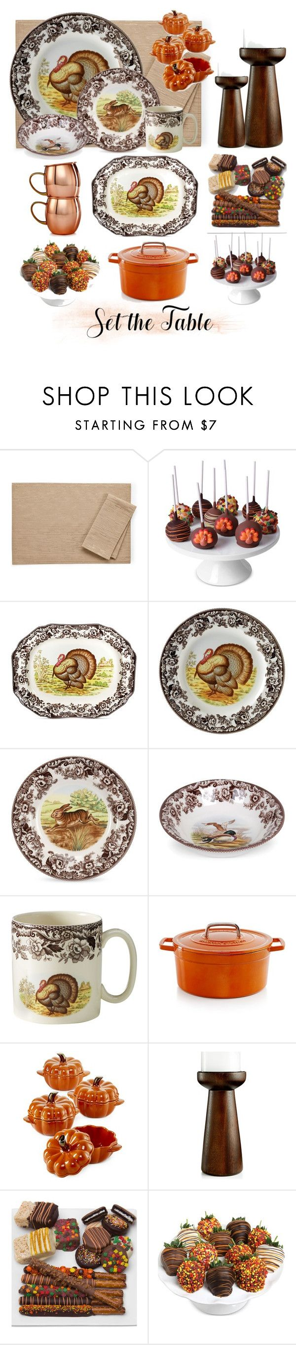 """Thanksgiving Table"" by rae-ann-stillwagon ❤ liked on Polyvore featuring interior, interiors, interior design, home, home decor, interior decorating, Bardwil, Golden Edibles, Spode and Martha Stewart"