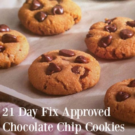 21 Day Fix chocolate chip cookie recipes #healthyitup Sub coconut sugar w a little ghee for moisture.  Sub out some of coconut oil for ghee for better flavor.  Sub carob chips or just use chopped dates w no chocolate at all for low glycemic index.  Maybe soy flour for less fat more protein.