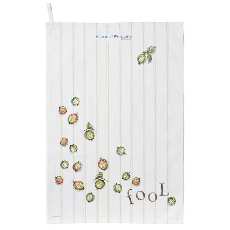 Nicole Phillips England artisan Gooseberry Fool Tea Towel. Nicole Phillips designs and makes beautiful fine textile ranges that add accents of creativity and colour for your home and kitchen. Designed and made in England to the highest print and quality standards. http://www.nicolephillips.com/collections/tea-towels/products/gooseberry-fool-tea-towel #puddings