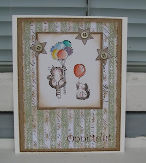 The coloured balloons cheer up the card (Kerttulin Paja). Images by Penny Black.: Card Kerttulin, Cheer Up, Masculine Cards, Kerttulin Paja, Balloons Cheer, Penny Black