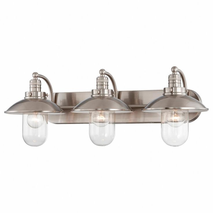 Schooner 3-Light Bath Light. Nautical or industrial look.  Love it with Edison filament bulbs.  Brushed nickel vanity light.