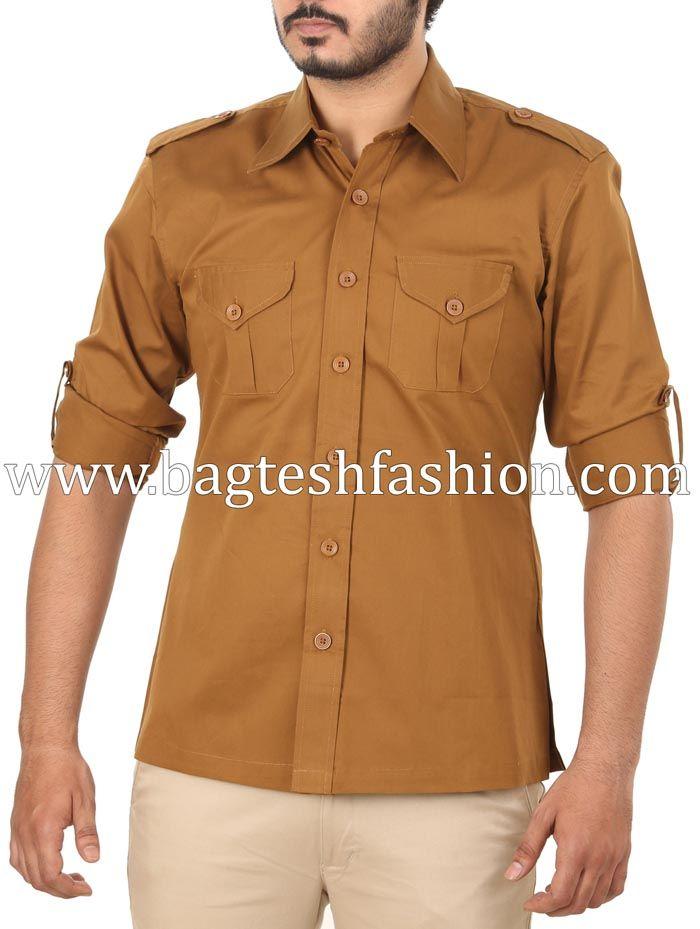 8b511387965b1 Mens Camel Color Hunting Safari Shirt | Shirts | Safari shirt, Men ...