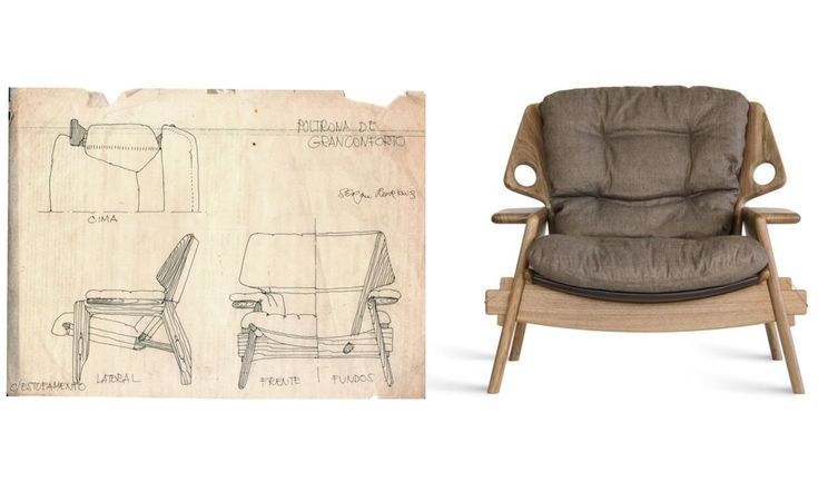"Sergio Rodrigues, ícone do design brasileiro, morre aos 86 anos // Sergio Rodrigues, brazilian design icon, dies at age 86 in Rio. In this picture, the drawings and the final product: the ""Benjamim"" armchair."