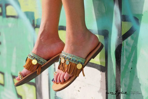 My grafiti Sandals Leather Sandals Boho by un1quejewelryproject