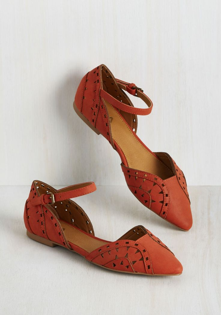 Frolic and a Promise Flat. Upholding your vow to stay glam on the go, you buckle into these rich orange flats for a trot through town. #orange #modcloth