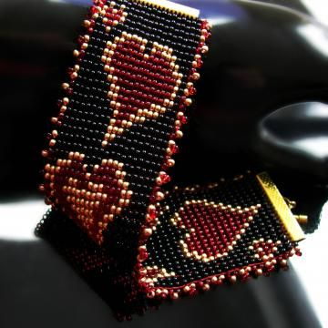 Bead loomed bracelet - Crazy hearts by CatsWire for $48.00