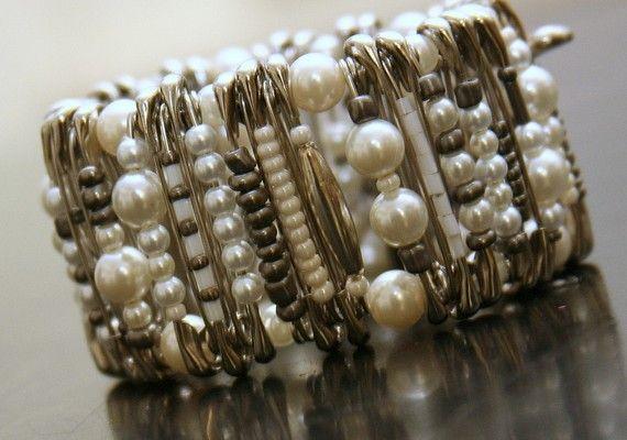 Big Pearl Pinlet safety pin bracelet by PinPrikStudio on Etsy, $20.00