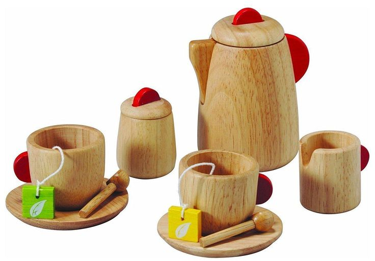 Tea Play Set Kids Toddler Toy Wooden Kitchen Gift Boy Girl Cups Saucer Spoon New