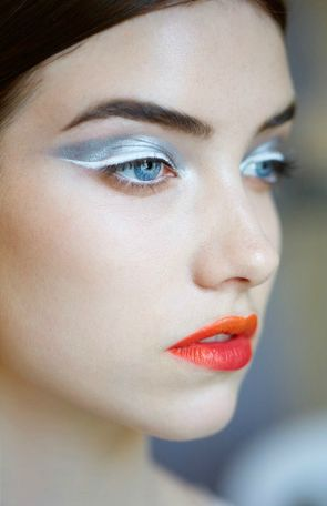 dior haute couture makeup... ooh silver eye shadow, white winged liner and orange and deep pink lips!