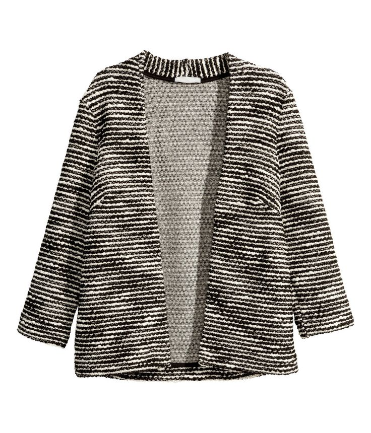 Black & white cardigan with textured knit & 3/4-length sleeves. | Warm in H&M