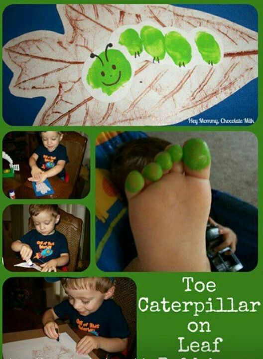 http://thewhoot.com.au/whoot-news/crafty-corner/hand-and-footprint-art-ideas: Füße, Fuß, Raupe, Abdruck, Farbe, Blatt, Herbst
