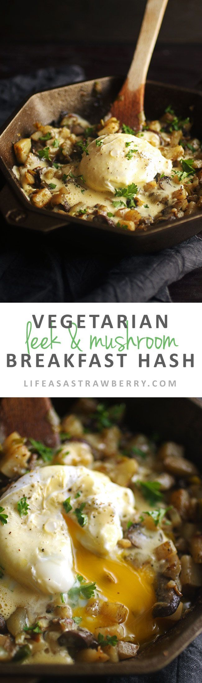 Vegetarian Leek and Mushroom Breakfast Hash - This easy breakfast recipe is sure to be a hit! Potatoes, earthy leeks and mushrooms, and a buttery homemade hollandaise sauce make this a delicious brunch recipe option. Vegetarian.