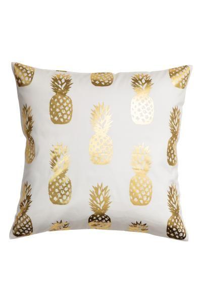 Kussenhoes met ananasdessin - Wit - HOME | H&M NL