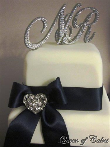www.cakesteelstanding.co.uk Our Swarovski Monograms on Board The Queen of Cakes.