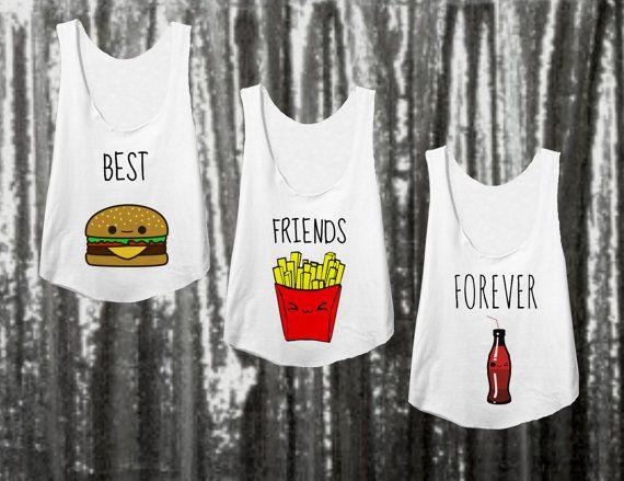 3 Matching bff Shirts for best friends bestie by HausVonNoir