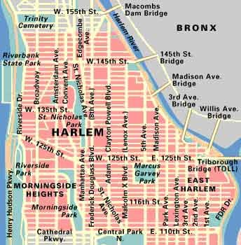 "Map of Harlem, NYC // Jazz musicians were drawn to Harlem, too. There were plenty of theater and nightclub and dance hall jobs — and Broadway and the record companies were only a subway ride away. ""Harlem, in our minds,"" jazz great Duke Ellington remembered, had ""the world's most glamorous atmosphere. We had to go there."" #jazzandcolors #nyc #harlem"