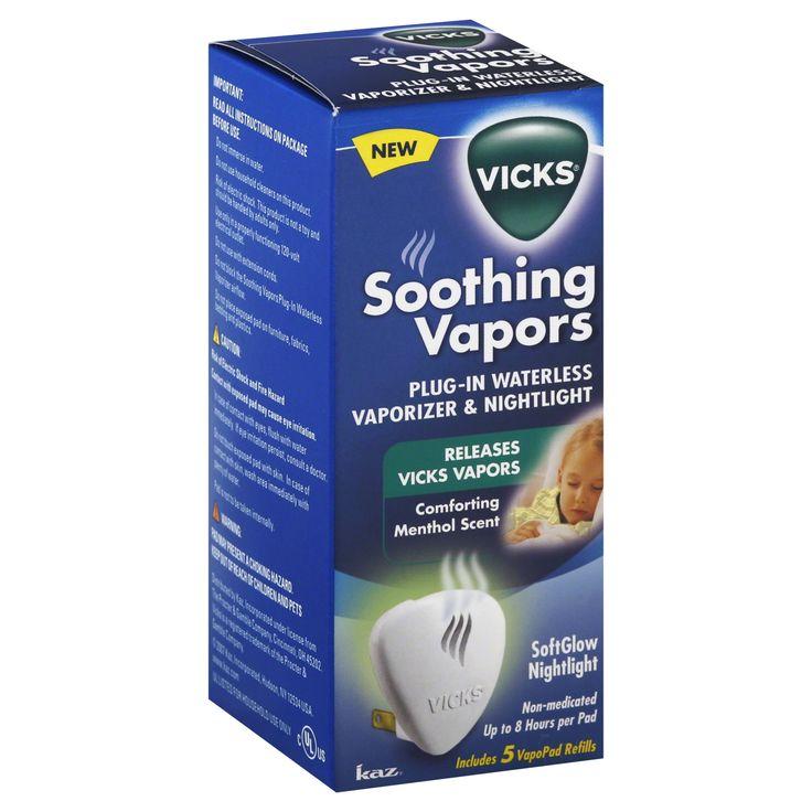 Vicks Vaporizer & Nightlight, Plug-In, Refill, Comforting Menthol Scent, 5 refills