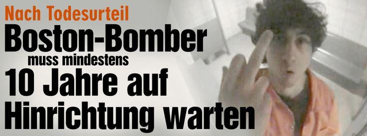 Nach Todesurteil für Boston-Bomber: Sein langer Weg bis zur Hinrichtung http://www.bild.de/news/ausland/boston-marathon-anschlag/todesurteil-fuer-boston-bomber-der-weg-bis-zur-hinrichtung-40984670.bild.html