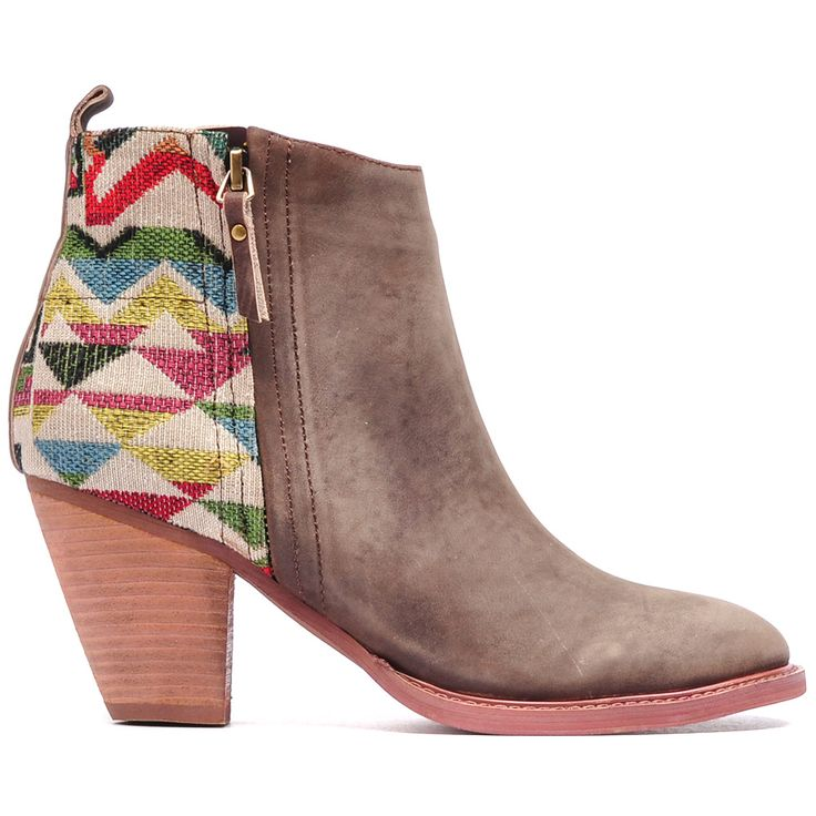 MEER   Mollini #mocha #detail #patterns #tapestry #washed #leather #boots #mollini