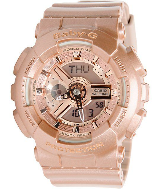 Get the the newest addition to the Baby G line with this is the G-Shock GA110-4A watch for girls. This watch has it all with an all rose gold resin case, band, and metallic face that comes with all the features you expect from the G-Shock 110 series but n