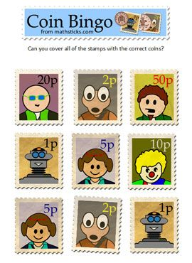A UK coin bingo game, fantastic images - stamp values and coin recognition