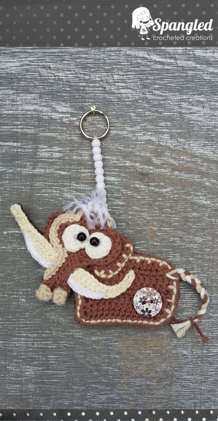 Mammoth Crocheted Keychain by SpangledCrochet on Etsy