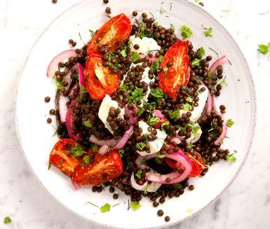 Recept: Puylinser med bakade tomater och gorgonzola