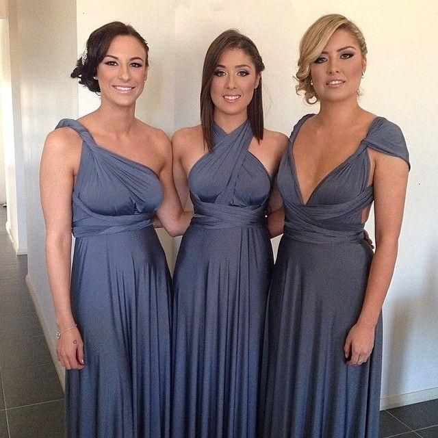 Charming 2015 Customized Elegant Gray Chiffon A Line Convertible Bridesmaid Dresses Pleats Floor Length Romantic Wedding Party Gowns Cheap Modest Bridesmaid Dresses Contemporary Bridesmaid Dresses From Xuelaier, $85.63| Dhgate.Com