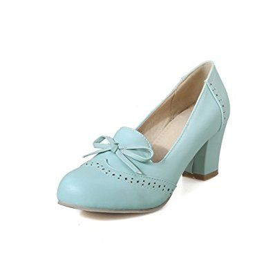 AmoonyFashion Women's Pull-on Kitten-Heels PU Solid Closed Round Toe  Pumps-Shoes