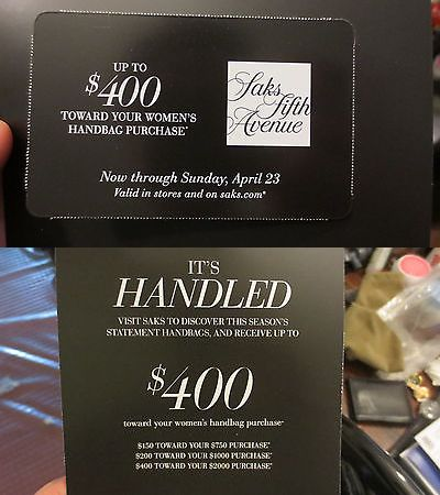 Coupons: Saks Fifth Avenue Coupon Up To $400 Off Handbag Purchase Store Online Exp 4/23 -> BUY IT NOW ONLY: $8.0 on eBay!