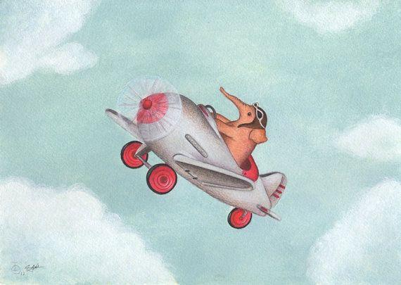 Elephant Pilot art print from an original acrylics by TinyRed