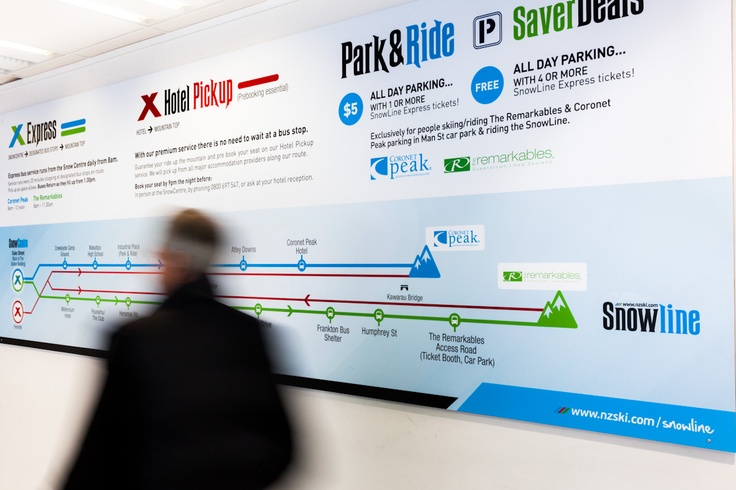 NZSki Snowline Signage - communicating general information, bus timetable and route, wall mounted in Queenstown Snow Centre