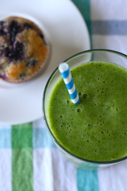 Another Green Monster   Yield: 2-3 servings  Ingredients:  1 banana (frozen or not), cut into chunks  1 cup chopped frozen pineapple  1 pear, coarsely chopped  1½ cups orange juice  2½ cups baby spinach leaves, rinsed and dried  1-2 tbsp. honey  3 tbsp. ground flaxseed (optional)