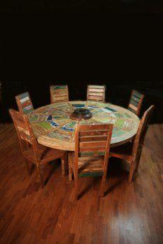 Tavolo a forma rotonda realizzato con legno di Teak recuperato da ...