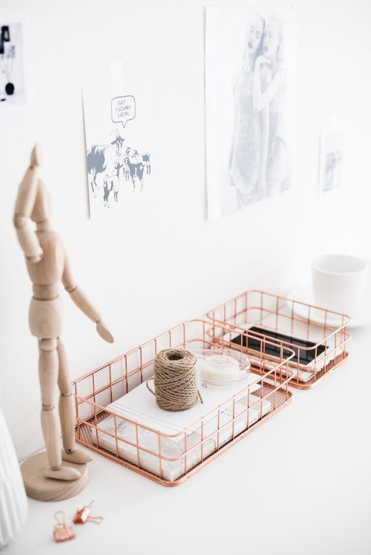 Металлические корзины для мелочей «розовое золото» — трендовый органайзер для домашнего офиса