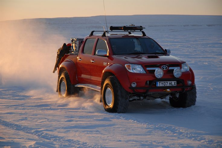 The modified Toyota Hilux used by Top Gear for the polar expedition. They are the first to take a car to the north pole. Source and more about it: http://en.wikipedia.org/wiki/Top_Gear:_Polar_Special