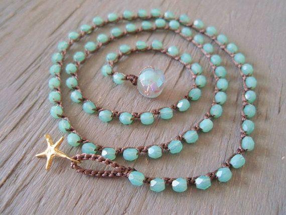 Crochet wrap bracelet necklace anklet - Point Blue - gold starfish seafoam aqua green surfer chic summer bohemian beach opal
