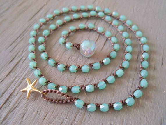 Crochet wrap bracelet necklace anklet - Point Blue - gold starfish seafoam aqua green surfer chic summer bohemian beach opal